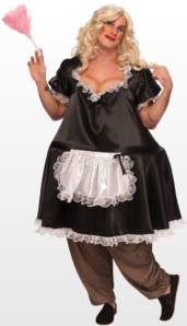 Fat French Maid Drag Fancy Dress Costume