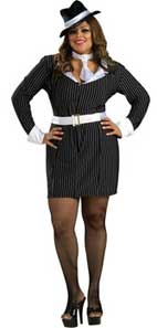 Gangsters moll fancy dress costume for curvy ladies